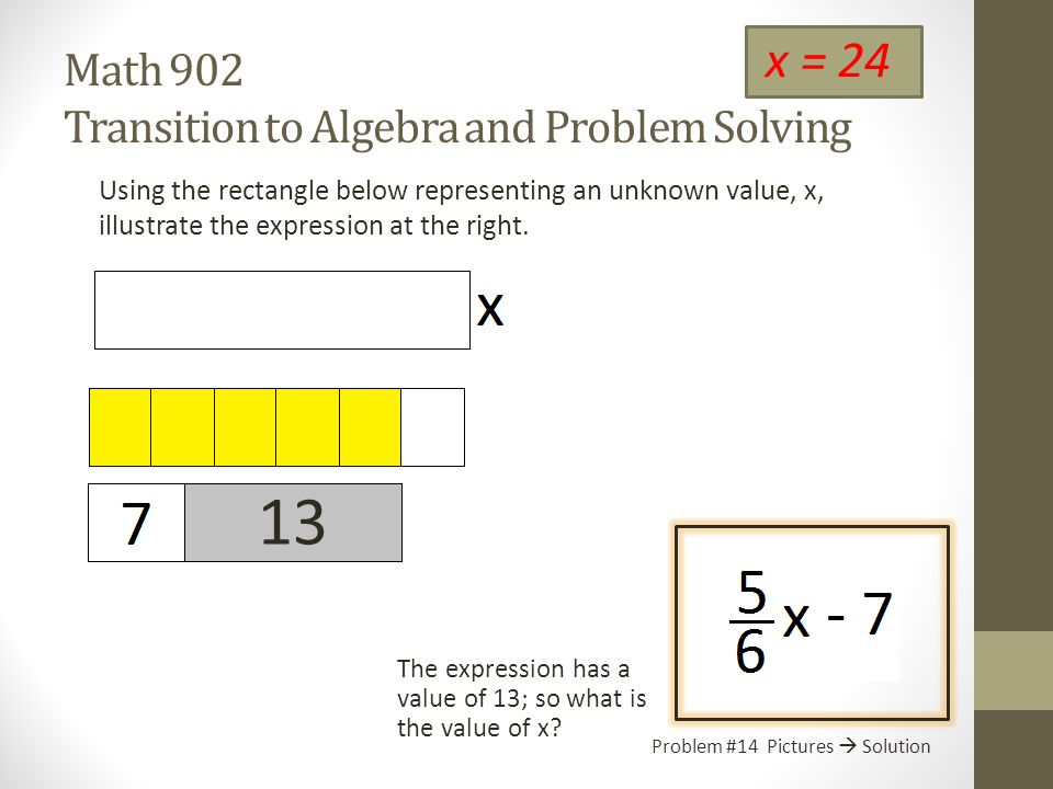 Math 902 Transition to Algebra and Problem Solving Using the rectangle below representing an unknown value, x, illustrate the expression at the right.