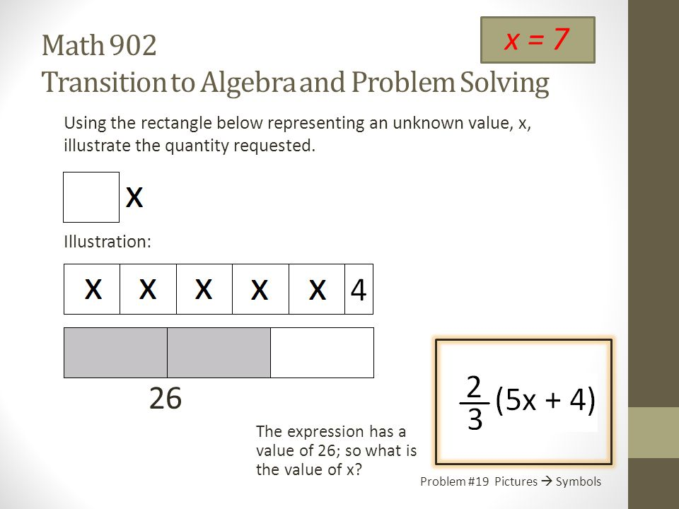Math 902 Transition to Algebra and Problem Solving Using the rectangle below representing an unknown value, x, illustrate the quantity requested.
