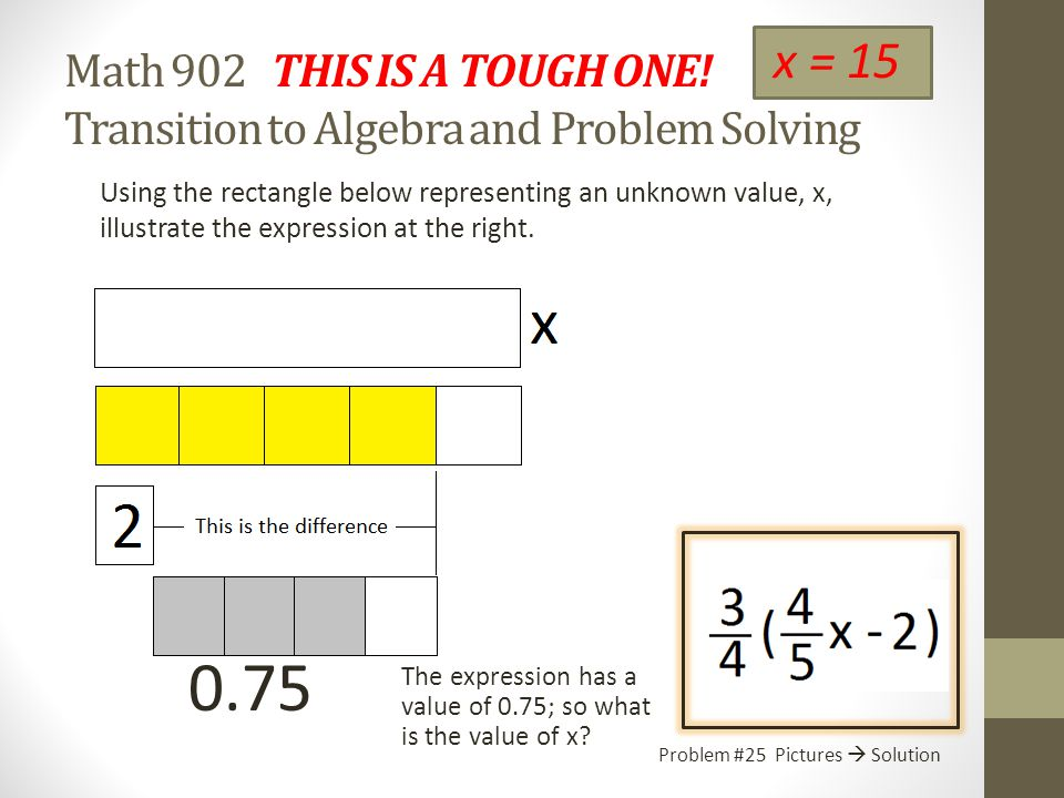Math 902 Recalling the Order of Operations Transition to Algebra and Problem Solving Symbols  Solution