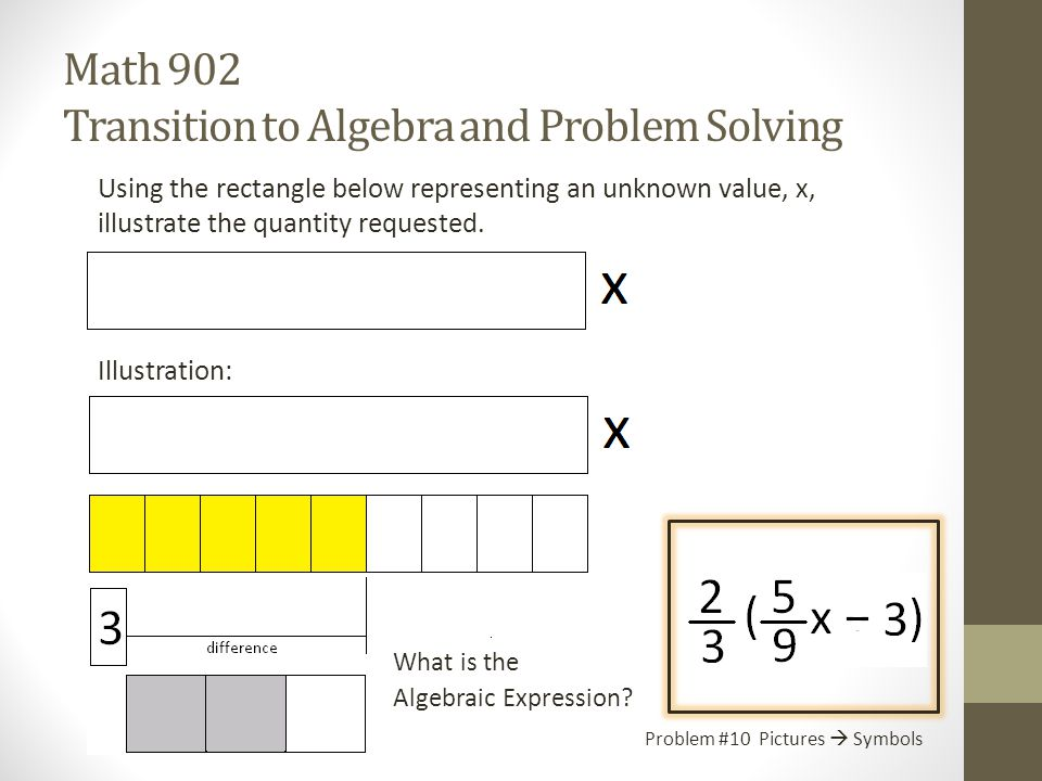 Math 902 You've been here before Transition to Algebra and Problem Solving Pictures  Solution We're going to solve equations made from the expressions in the last two sections for the unknown values of x.