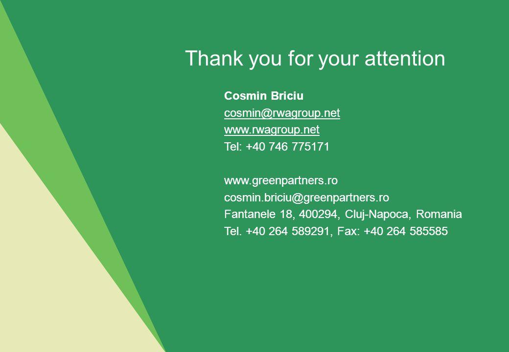 Cosmin Briciu cosmin@rwagroup.net www.rwagroup.net Tel: +40 746 775171 www.greenpartners.ro cosmin.briciu@greenpartners.ro Fantanele 18, 400294, Cluj-Napoca, Romania Tel.