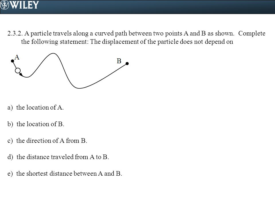 2.3.2.A particle travels along a curved path between two points A and B as shown.