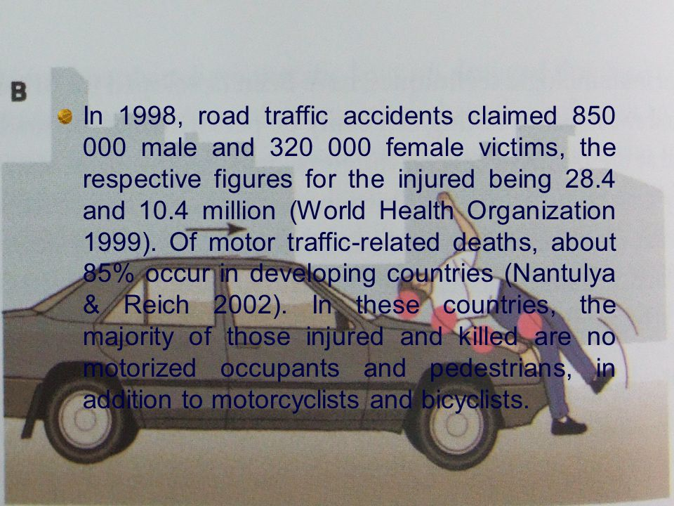 Conversely, in industrialized countries, vehicle occupants account for the majority of traffic fatalities, followed by pedestrians, especially the elderly, and bicycle riders.