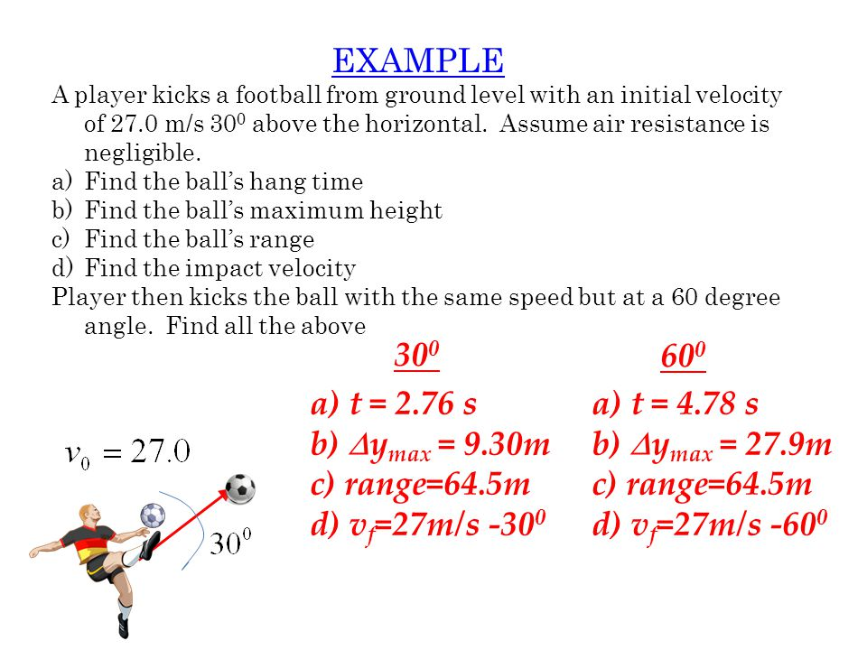 EXAMPLE What is its final velocity, right before landing? v f = 42.3 m/s, -47.7 0 from x-axis 90.0 m 50.0 m v f = ? xy
