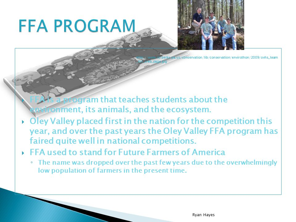  FFA is a program that teaches students about the environment, its animals, and the ecosystem.