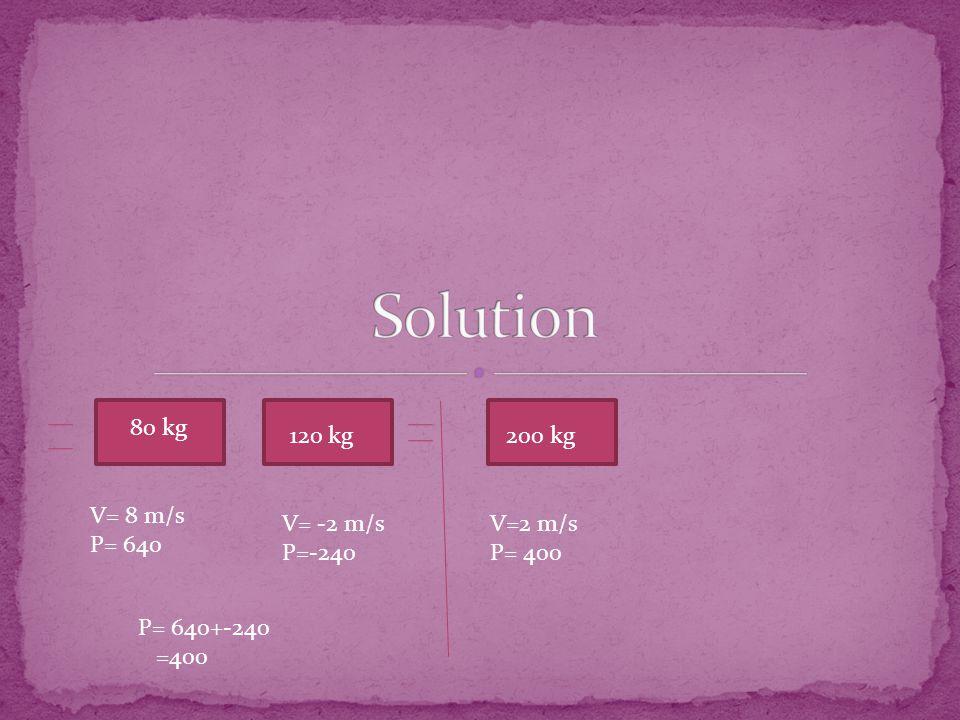 80 kg 120 kg V= 8 m/s P= 640 V= -2 m/s P=-240 P= 640+-240 =400 V=2 m/s P= 400 200 kg