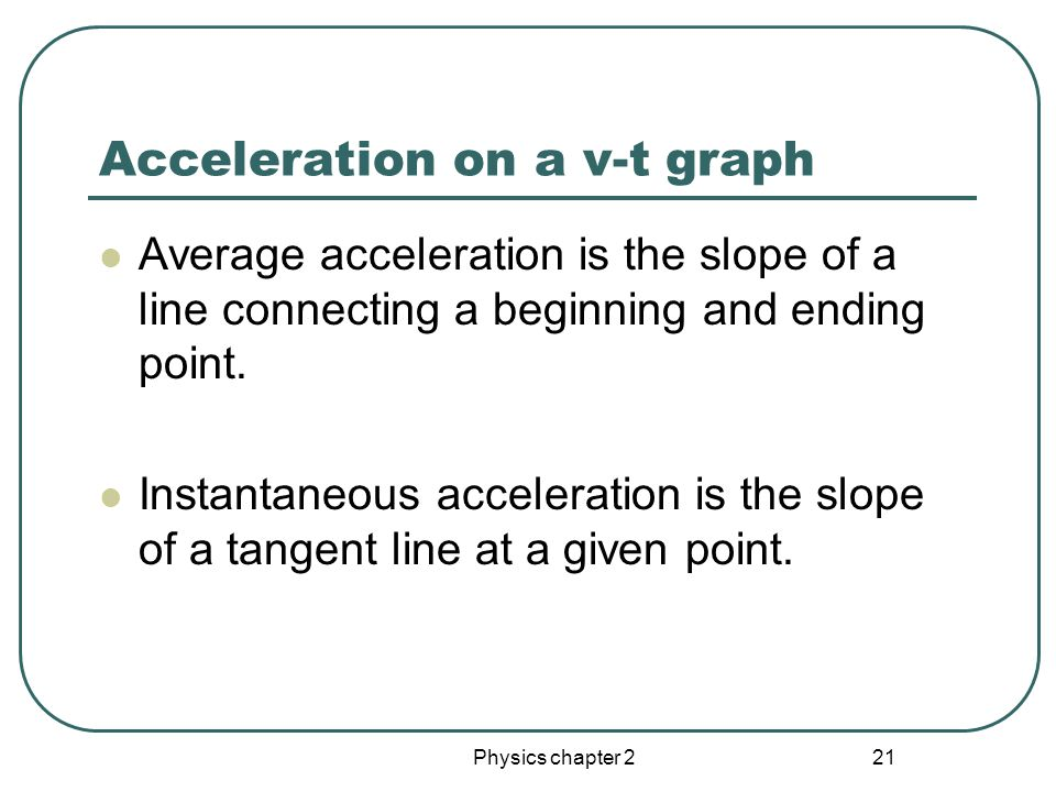 Physics chapter 2 20 Instantaneous acceleration The derivative of v with respect to t