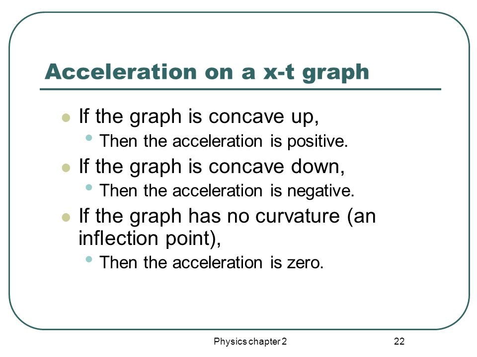 Physics chapter 2 21 Acceleration on a v-t graph Average acceleration is the slope of a line connecting a beginning and ending point.