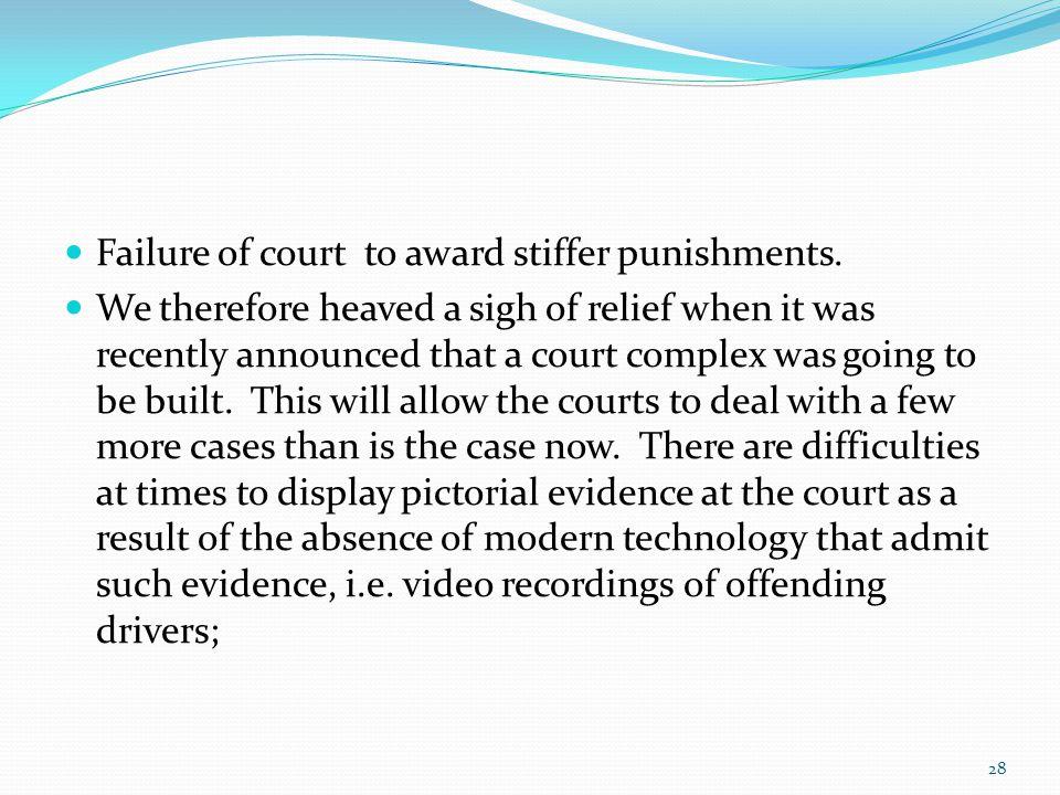 Failure of court to award stiffer punishments.