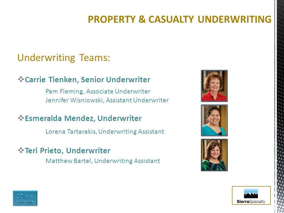 Underwriting Teams:  Carrie Tienken, Senior Underwriter Pam Fleming, Associate Underwriter Jennifer Wisniowski, Assistant Underwriter  Esmeralda Men