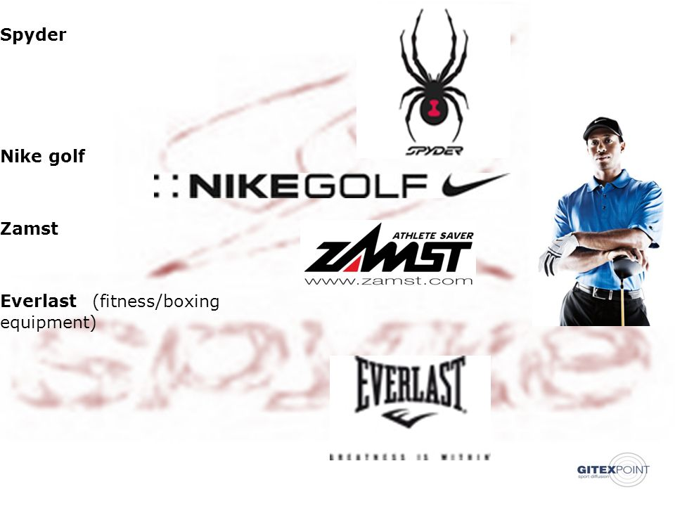 21/06/201312 Spyder Nike golf Zamst Everlast (fitness/boxing equipment) ‏ ‏