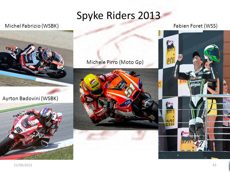 Spyke Riders 2013 Michel Fabrizio (WSBK) 21/06/201343 Ayrton Badovini (WSBK) Michele Pirro (Moto Gp) Fabien Foret (WSS)