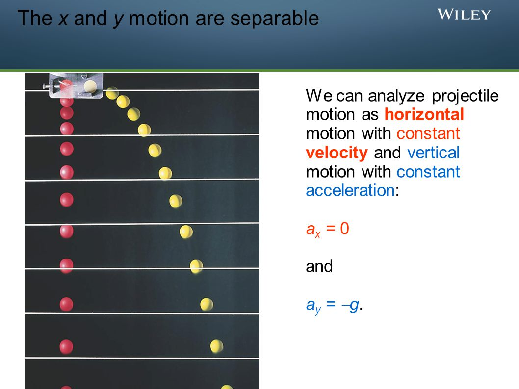 The x and y motion are separable We can analyze projectile motion as horizontal motion with constant velocity and vertical motion with constant accele