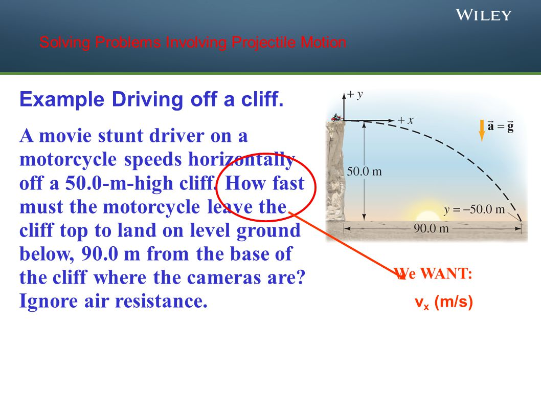 Example Driving off a cliff. A movie stunt driver on a motorcycle speeds horizontally off a 50.0-m-high cliff. How fast must the motorcycle leave the