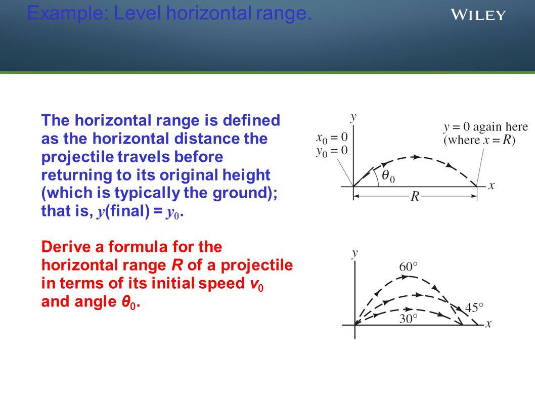Example: Level horizontal range. The horizontal range is defined as the horizontal distance the projectile travels before returning to its original he