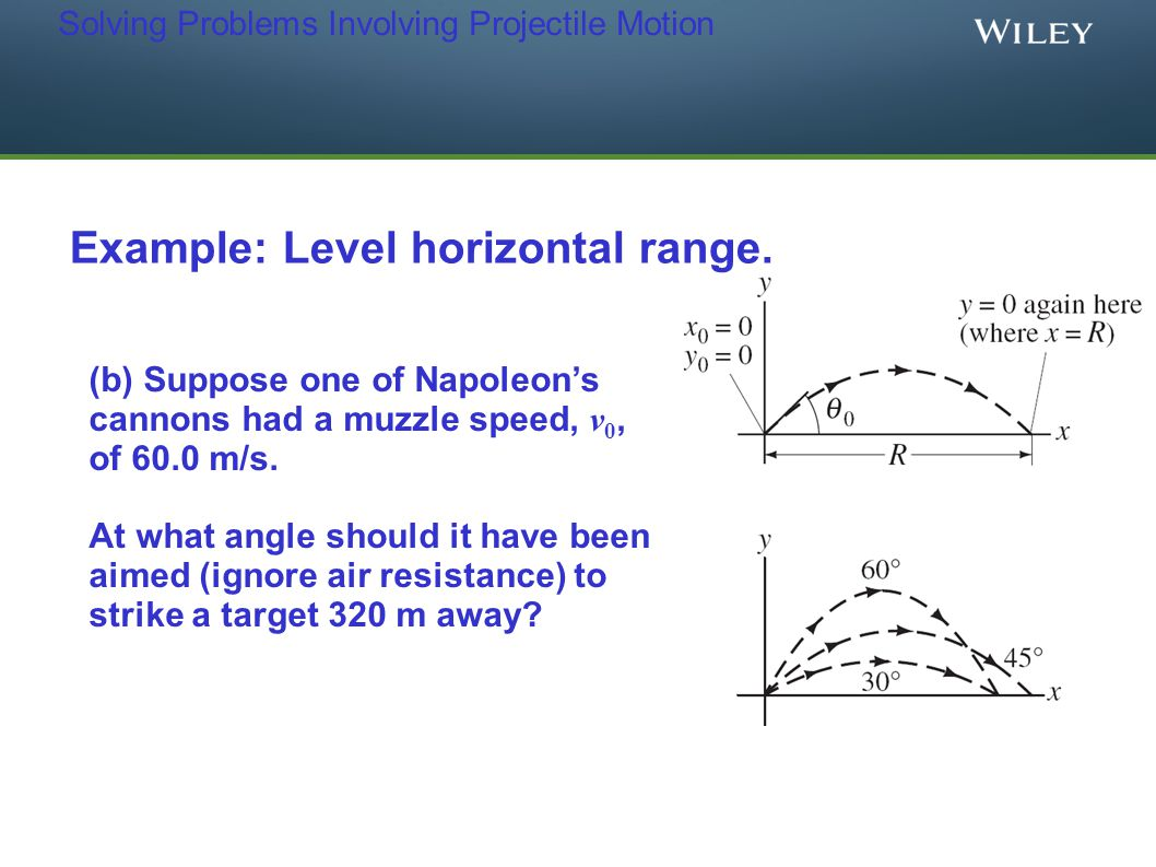Solving Problems Involving Projectile Motion Example: Level horizontal range. (b) Suppose one of Napoleon's cannons had a muzzle speed, v 0, of 60.0 m