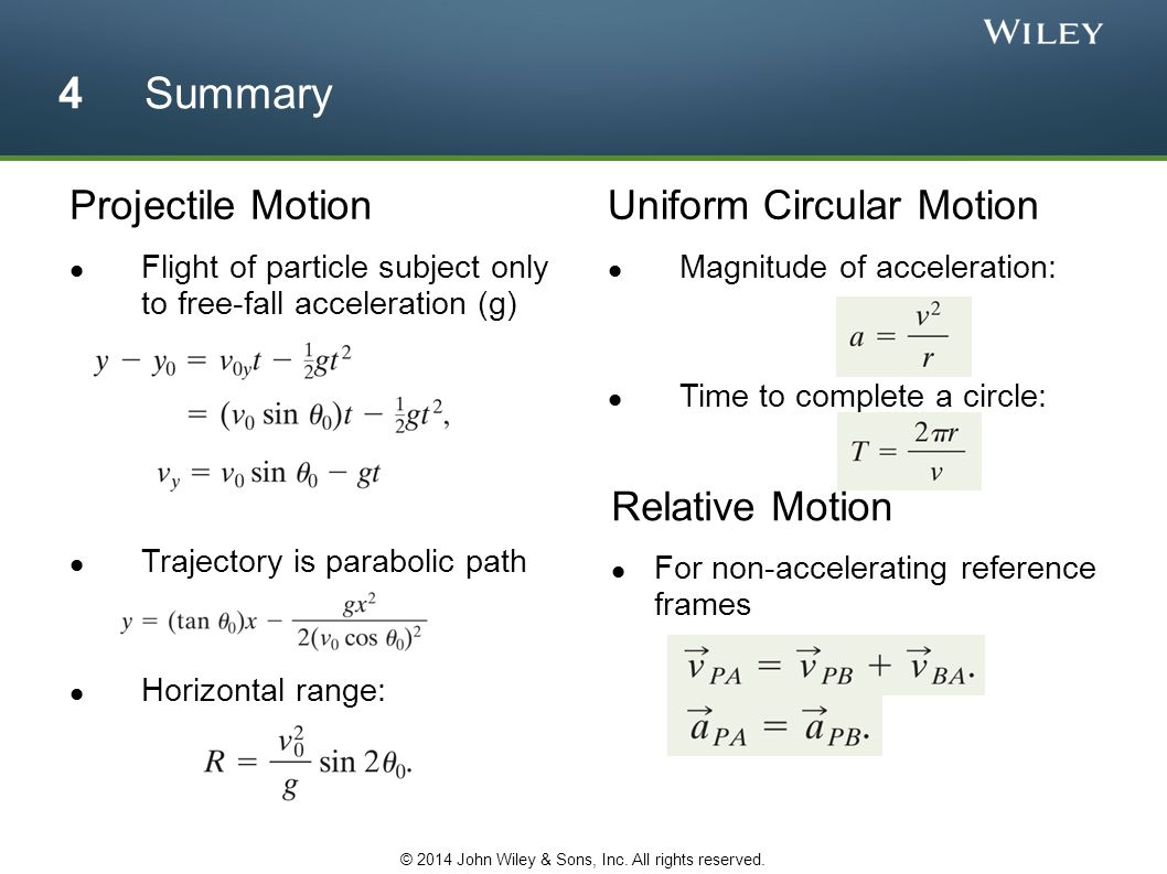 Projectile Motion Flight of particle subject only to free-fall acceleration (g) Trajectory is parabolic path Horizontal range: Uniform Circular Motion