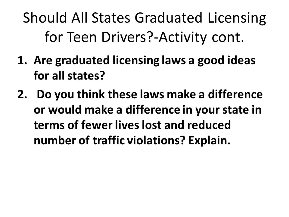 Should All States Graduated Licensing for Teen Drivers?-Activity cont. 1.Are graduated licensing laws a good ideas for all states? 2. Do you think the