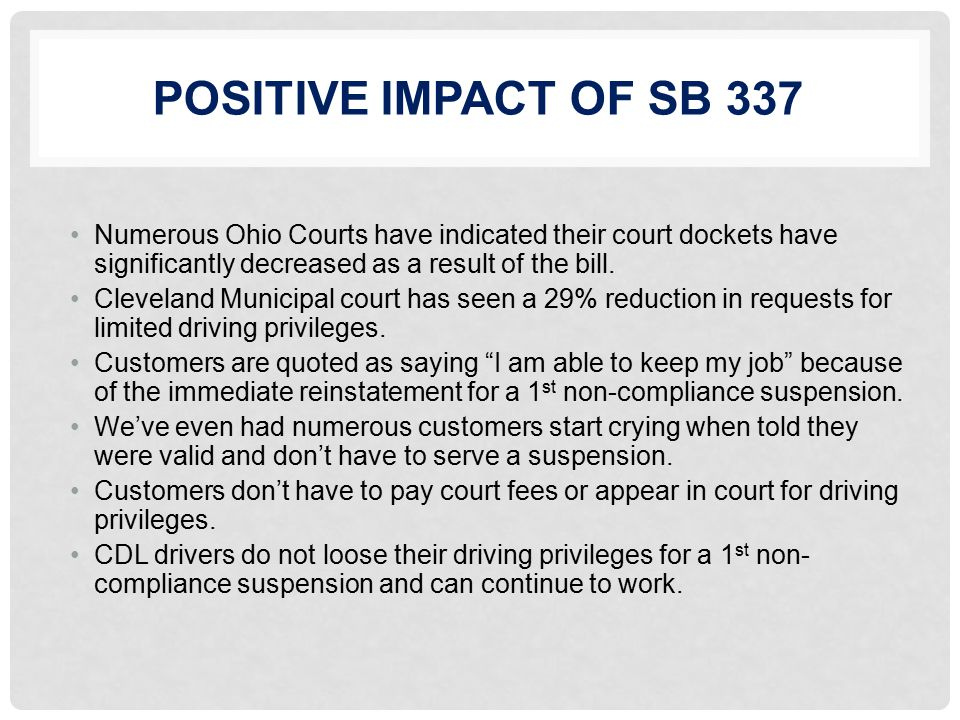 POSITIVE IMPACT OF SB 337 Numerous Ohio Courts have indicated their court dockets have significantly decreased as a result of the bill.