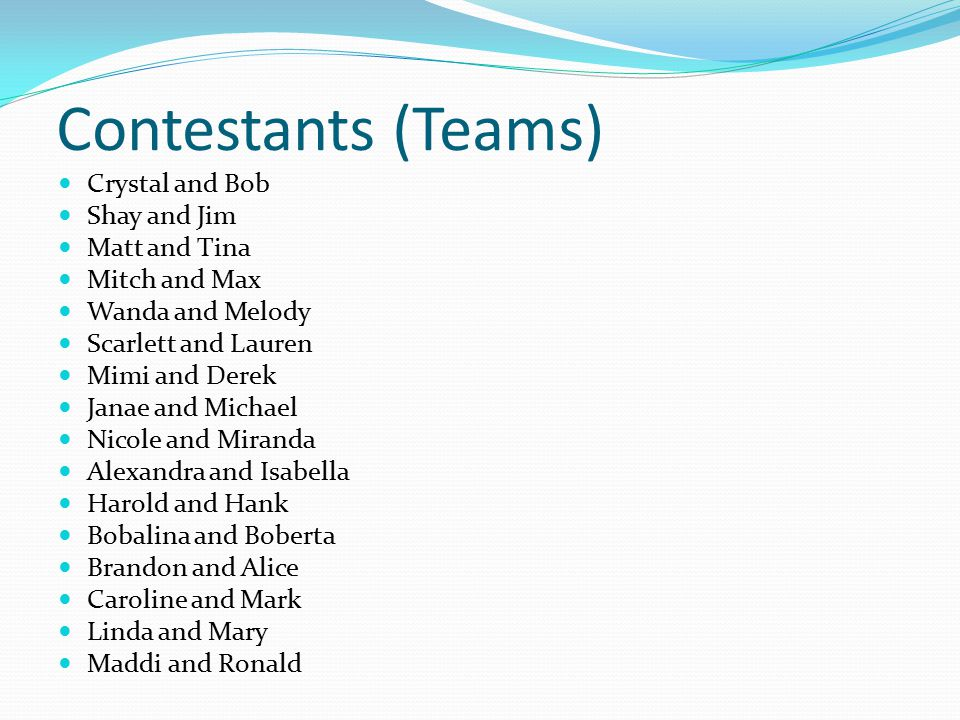 Contestants (Teams) Crystal and Bob Shay and Jim Matt and Tina Mitch and Max Wanda and Melody Scarlett and Lauren Mimi and Derek Janae and Michael Nicole and Miranda Alexandra and Isabella Harold and Hank Bobalina and Boberta Brandon and Alice Caroline and Mark Linda and Mary Maddi and Ronald
