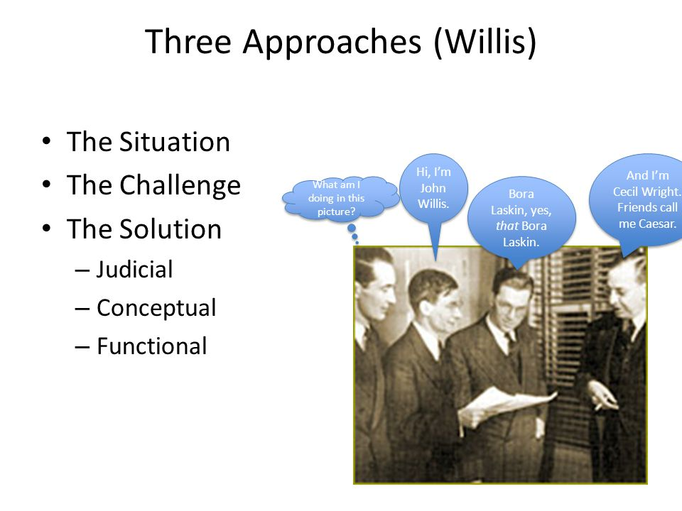 Three Approaches (Willis) The Situation The Challenge The Solution – Judicial – Conceptual – Functional Hi, I'm John Willis. And I'm Cecil Wright. Fri