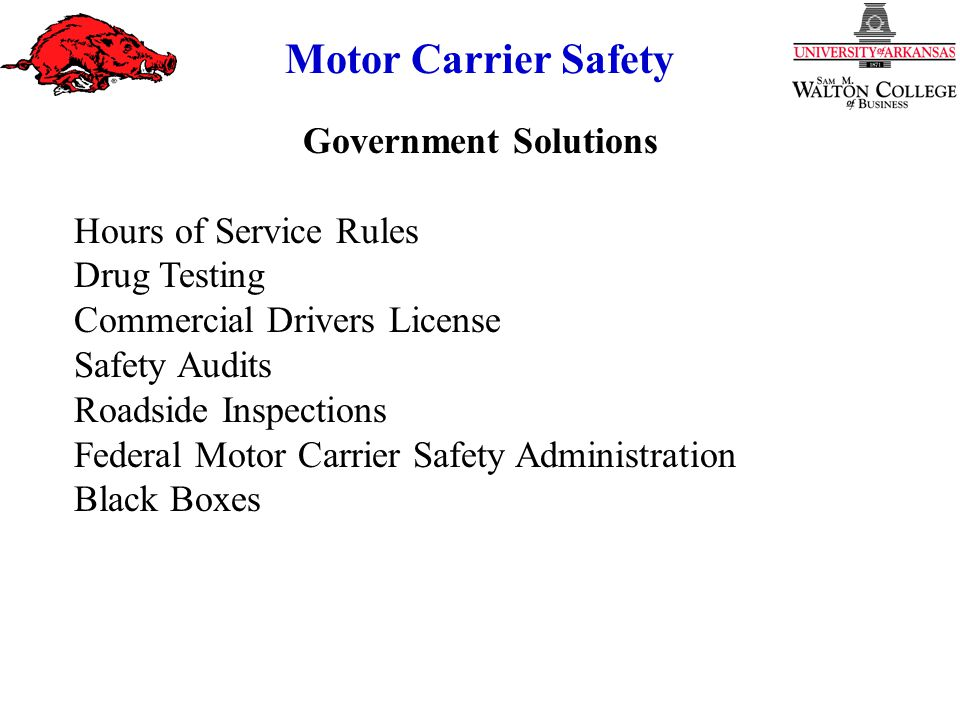 Government Solutions Hours of Service Rules Drug Testing Commercial Drivers License Safety Audits Roadside Inspections Federal Motor Carrier Safety Administration Black Boxes