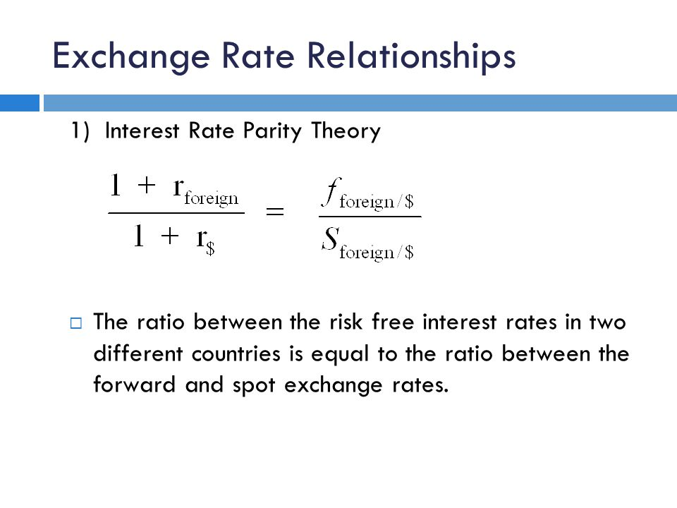 Exchange Rate Relationships 1) Interest Rate Parity Theory  The ratio between the risk free interest rates in two different countries is equal to the ratio between the forward and spot exchange rates.
