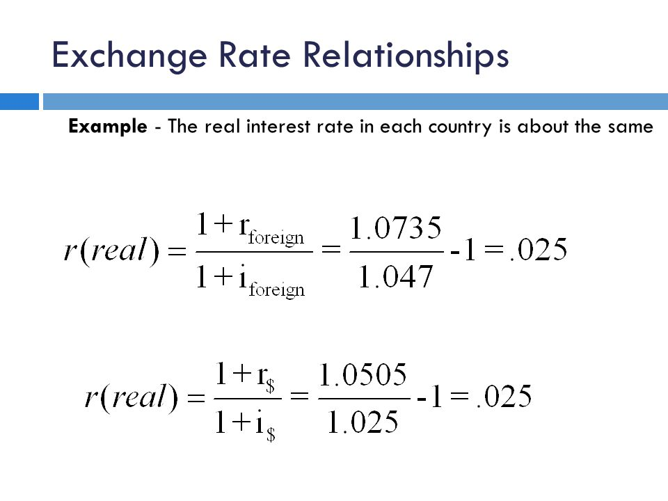 Exchange Rate Relationships Example - The real interest rate in each country is about the same