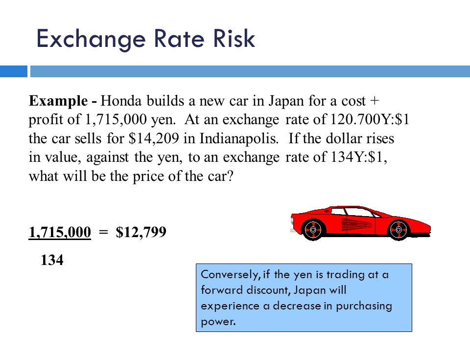 Exchange Rate Risk Example - Honda builds a new car in Japan for a cost + profit of 1,715,000 yen.