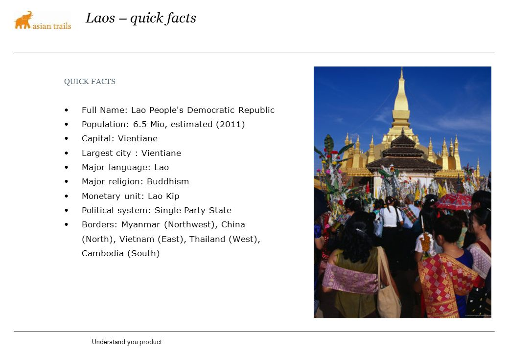 Laos – quick facts QUICK FACTS Full Name: Lao People's Democratic Republic Population: 6.5 Mio, estimated (2011) Capital: Vientiane Largest city : Vie