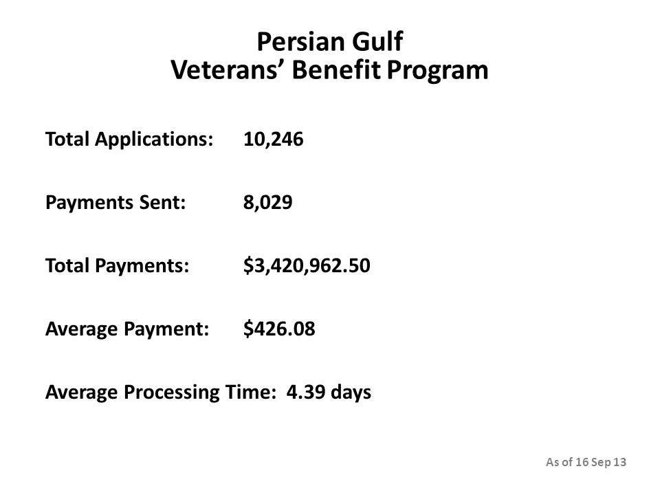 Persian Gulf Veterans' Benefit Program Total Applications: 10,246 Payments Sent: 8,029 Total Payments: $3,420,962.50 Average Payment: $426.08 Average Processing Time: 4.39 days As of 16 Sep 13