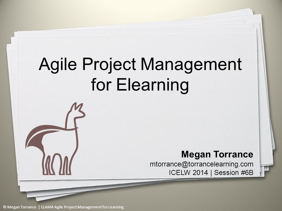 © Megan Torrance | LLAMA Agile Project Management for Learning 1 Megan Torrance mtorrance@torrancelearning.com ICELW 2014 | Session #6B Agile Project Management for Elearning