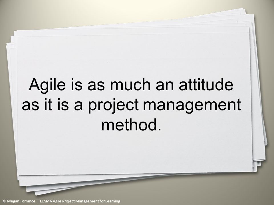 © Megan Torrance | LLAMA Agile Project Management for Learning Agile is as much an attitude as it is a project management method.