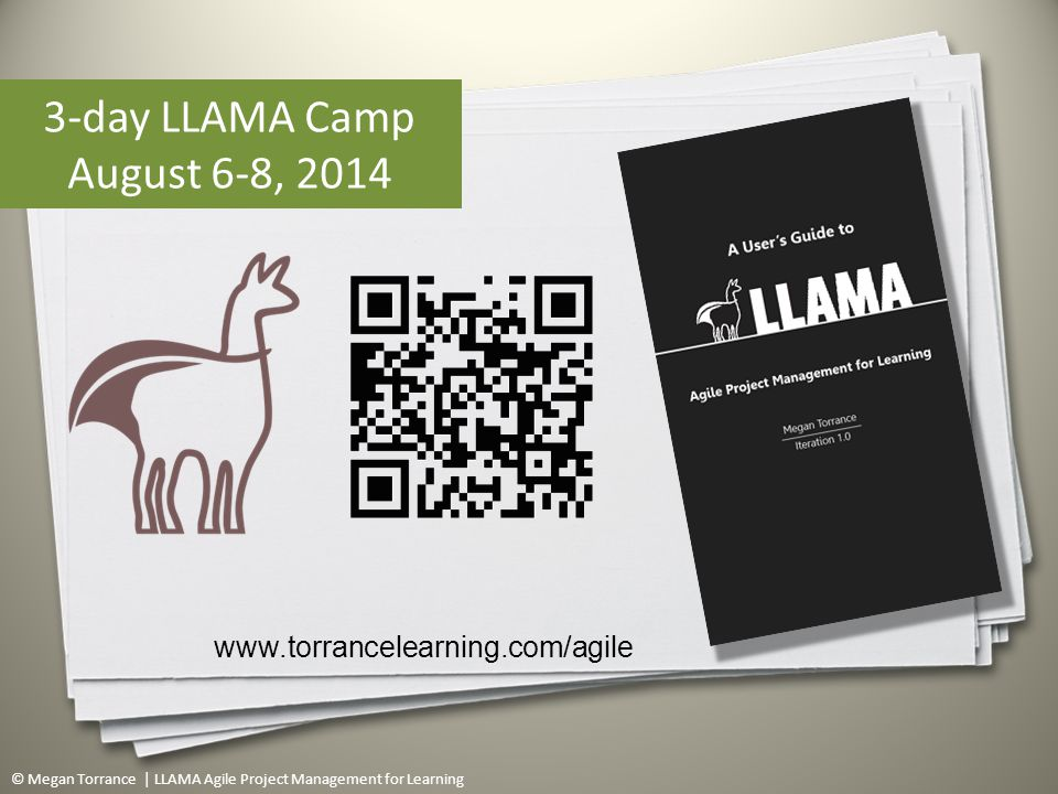 © Megan Torrance | LLAMA Agile Project Management for Learning 89 www.torrancelearning.com/agile 3-day LLAMA Camp August 6-8, 2014