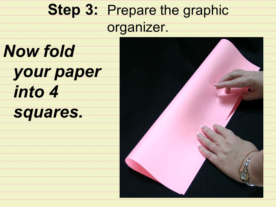 Step 3: Prepare the graphic organizer. Now fold your paper into 4 squares.