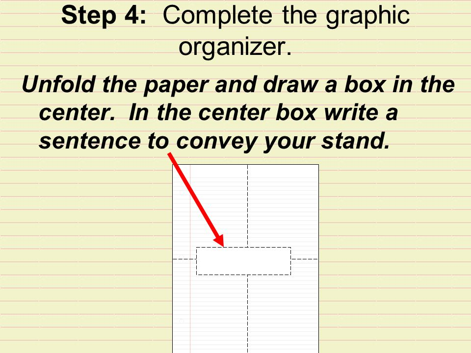 Step 4: Complete the graphic organizer.Unfold the paper and draw a box in the center.