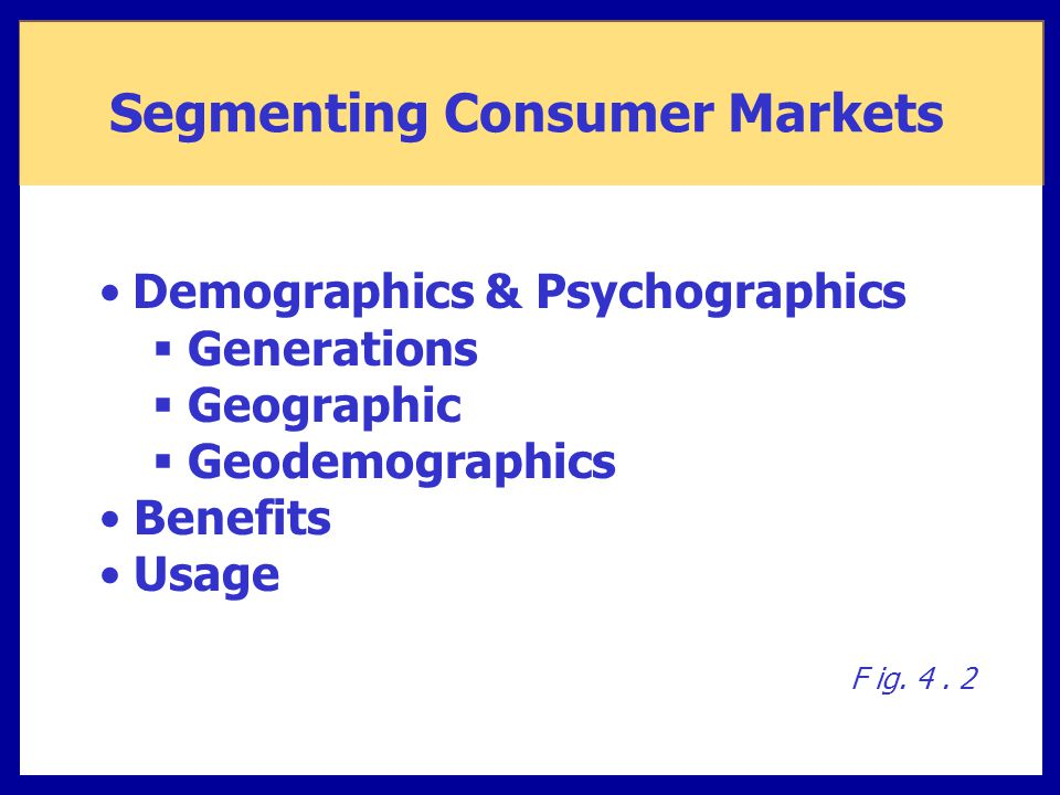 Demographics & Psychographics  Generations  Geographic  Geodemographics Benefits Usage F ig. 4. 2 Segmenting Consumer Markets