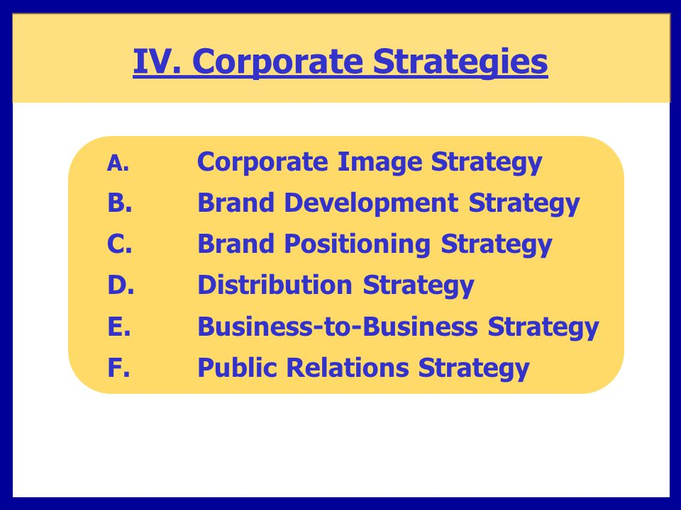 IV. Corporate Strategies A. Corporate Image Strategy B.Brand Development Strategy C. Brand Positioning Strategy D. Distribution Strategy E. Business-t