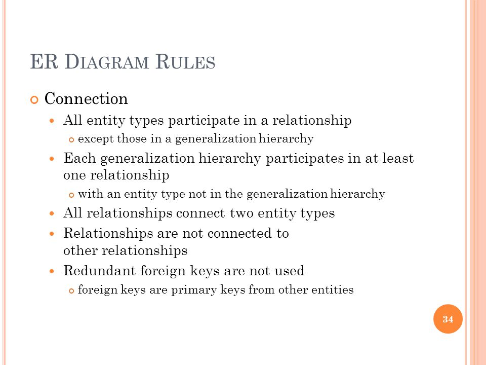 ER D IAGRAM R ULES Connection All entity types participate in a relationship except those in a generalization hierarchy Each generalization hierarchy participates in at least one relationship with an entity type not in the generalization hierarchy All relationships connect two entity types Relationships are not connected to other relationships Redundant foreign keys are not used foreign keys are primary keys from other entities 34