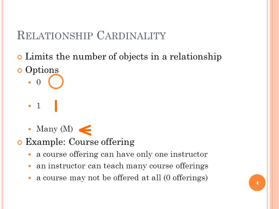 R ELATIONSHIP C ARDINALITY Limits the number of objects in a relationship Options 0 1 Many (M) Example: Course offering a course offering can have only one instructor an instructor can teach many course offerings a course may not be offered at all (0 offerings) 4