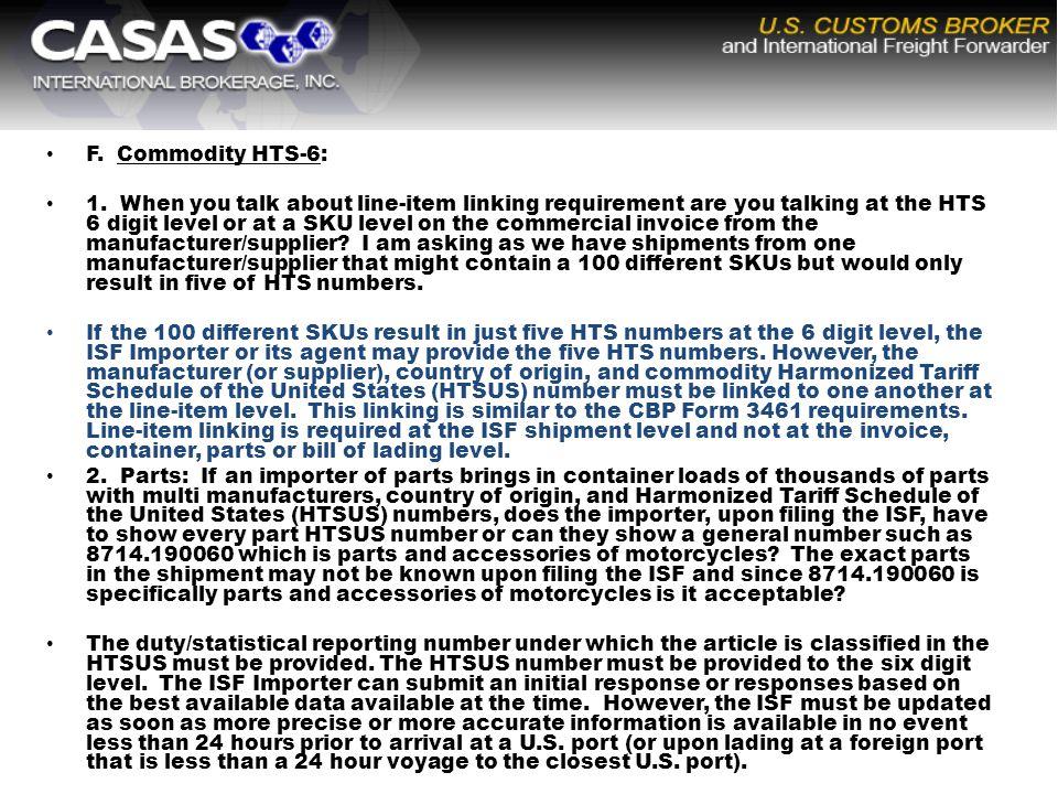 F. Commodity HTS-6: 1.