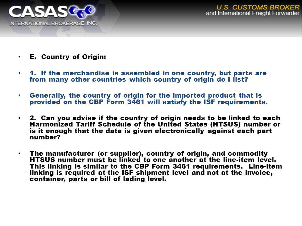 E. Country of Origin: 1.