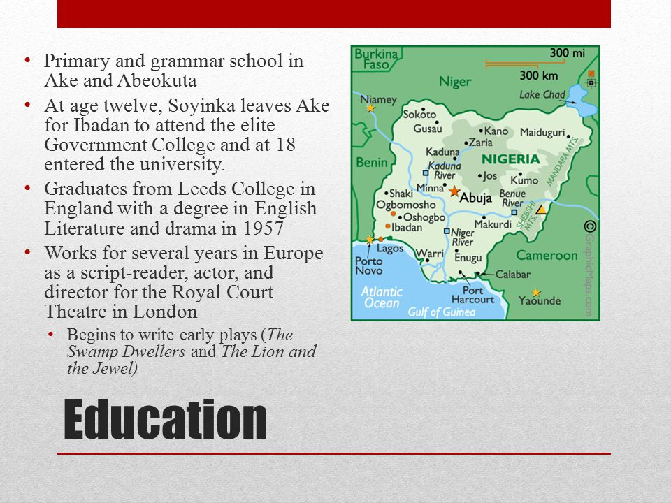 Education Primary and grammar school in Ake and Abeokuta At age twelve, Soyinka leaves Ake for Ibadan to attend the elite Government College and at 18 entered the university.