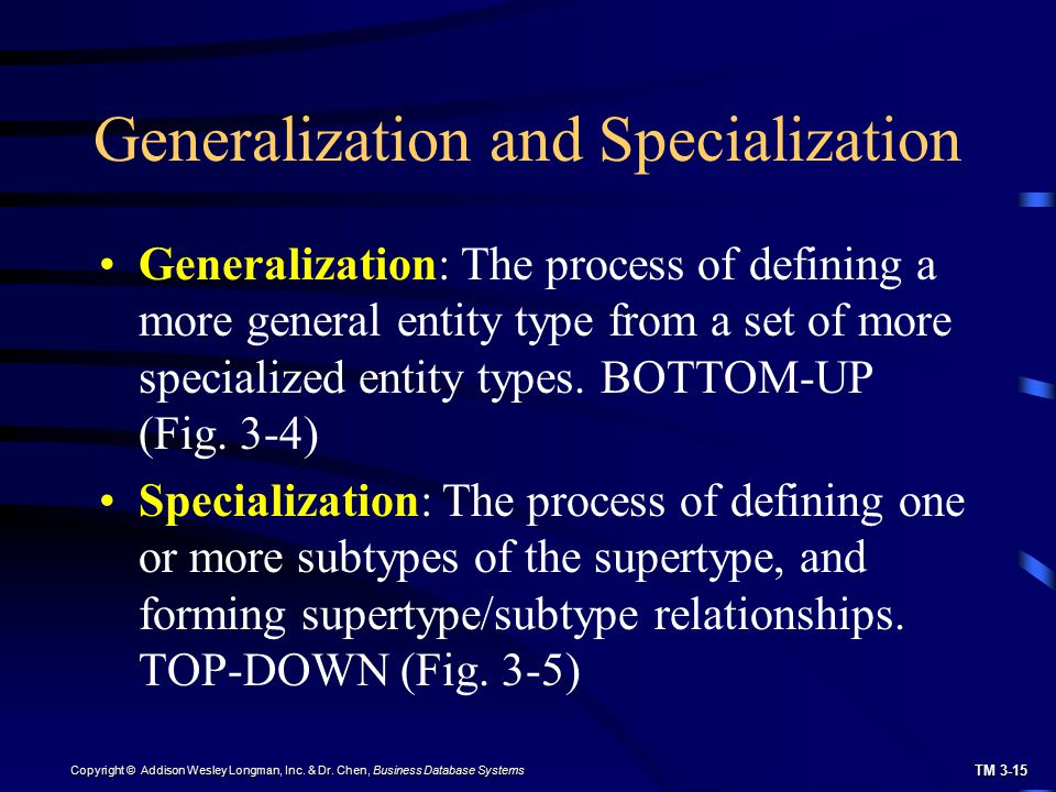 TM 3-15 Copyright © Addison Wesley Longman, Inc. & Dr. Chen, Business Database Systems Generalization and Specialization Generalization: The process o