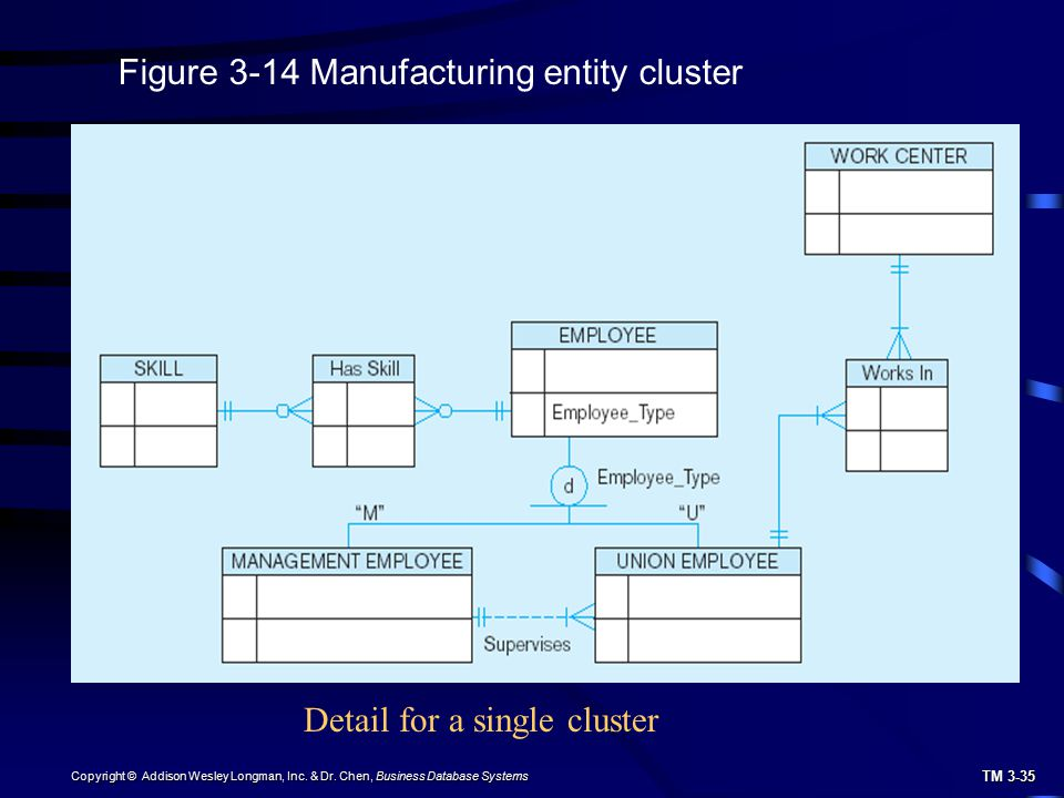 TM 3-35 Copyright © Addison Wesley Longman, Inc. & Dr. Chen, Business Database Systems Figure 3-14 Manufacturing entity cluster Detail for a single cl