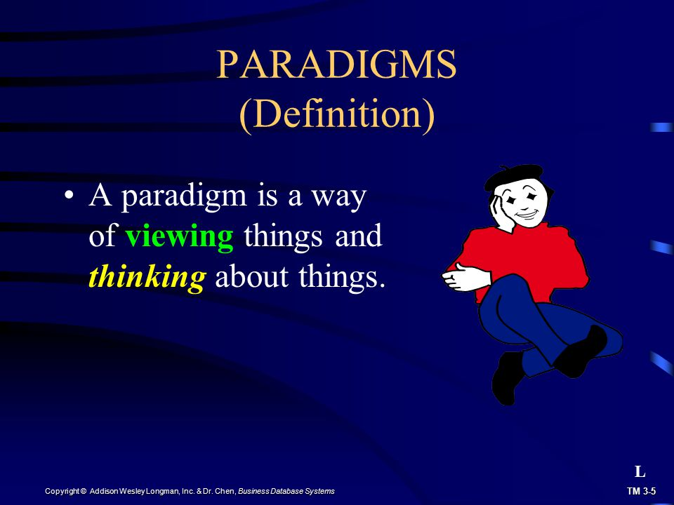 TM 3-5 Copyright © Addison Wesley Longman, Inc. & Dr. Chen, Business Database Systems PARADIGMS (Definition) A paradigm is a way of viewing things and