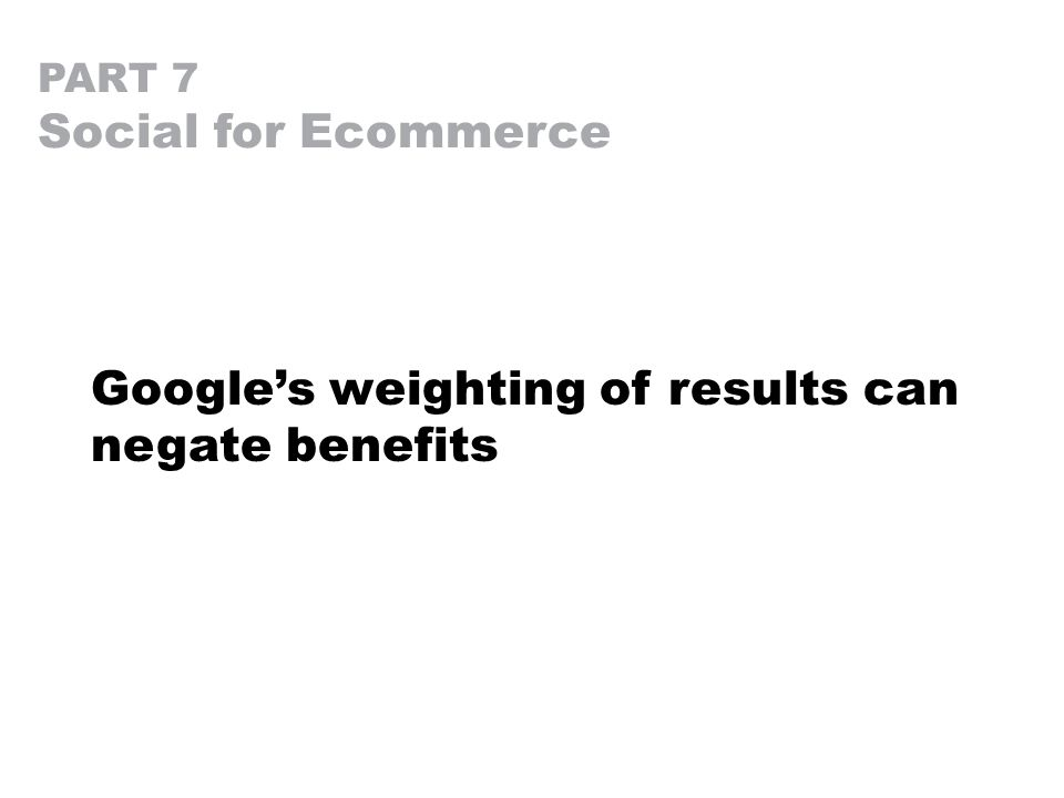PART 7 Social for Ecommerce Google's weighting of results can negate benefits