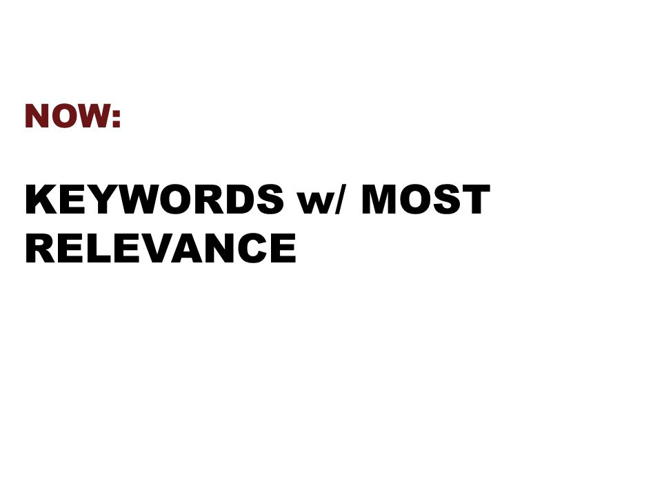 NOW: KEYWORDS w/ MOST RELEVANCE