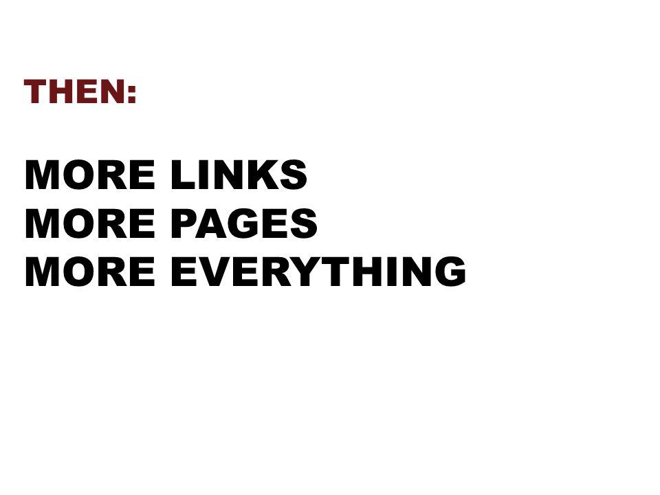 THEN: MORE LINKS MORE PAGES MORE EVERYTHING