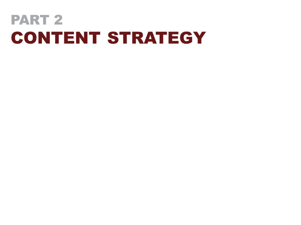 PART 2 CONTENT STRATEGY